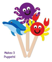 Picture of Krafty Kids Kit: DIY Foam Character Stick Puppets -  Sea Creatures (3pc)