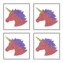 Picture of Mini 4 in 1 Unicorn Glitter Tattoo Stencil - HP (5pc pack)