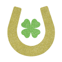 Picture of Lucky Horseshoe with Clover Glitter Tattoo Stencil - HP (5pc pack)