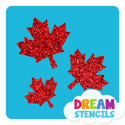 Picture of Cascading Maple Leaves Glitter Tattoo Stencil - HP-104 (5pc pack)