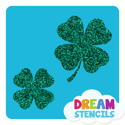 Picture of Two Lucky Four-Leaf Clovers Glitter Tattoo Stencil - HP-53 (5pc pack)