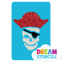 Picture of Pirate Skull Glitter Tattoo Stencil - HP-134 (5pc pack)