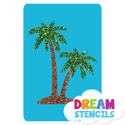 Picture of Twin Palm Trees Glitter Tattoo Stencil - HP-148 (5pc pack)