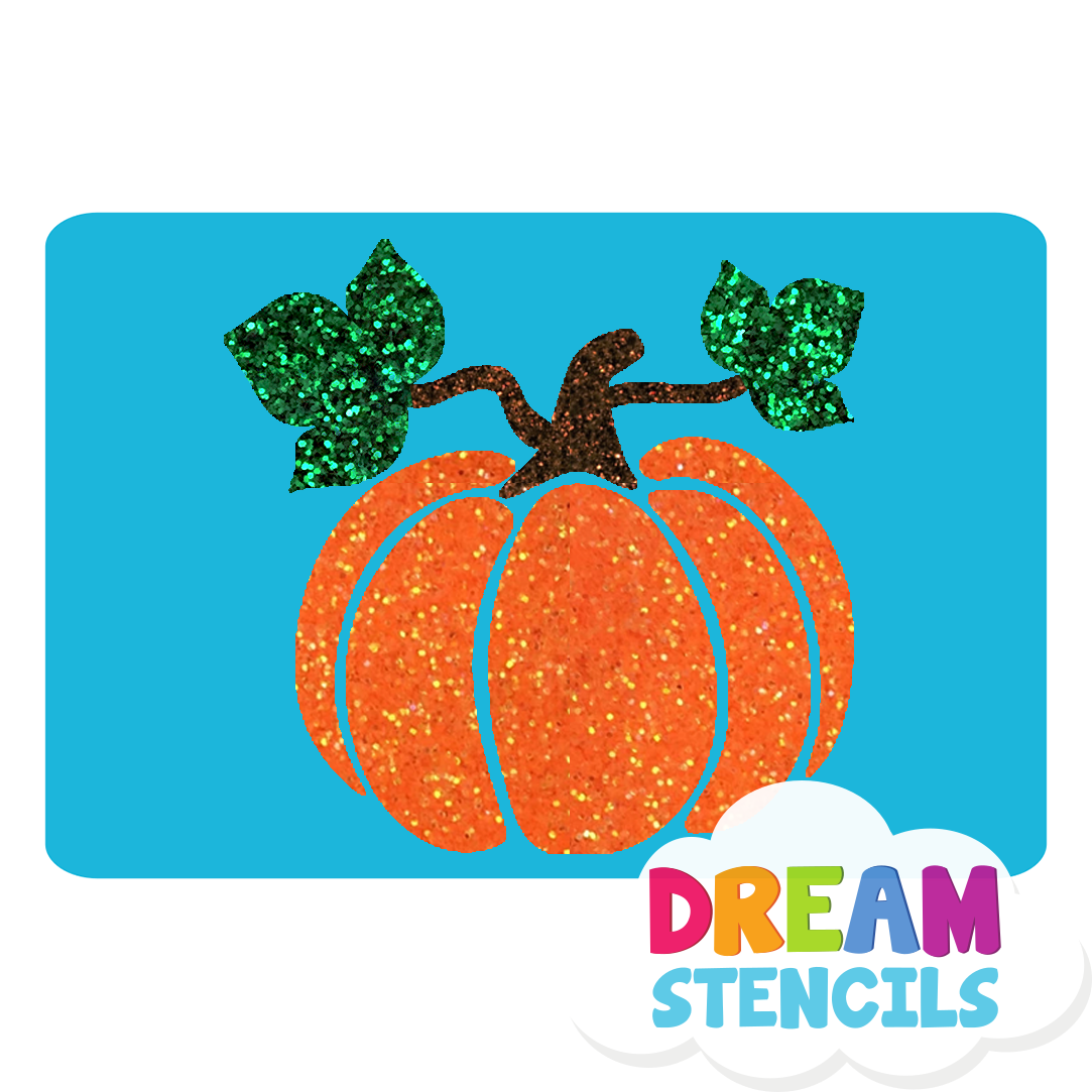 Picture of Pumpkin with Leaves Glitter Tattoo Stencil - HP-159 (5pc pack)