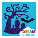 Picture of Haunted Tree with Bat Glitter Tattoo Stencil - HP (5pc pack)