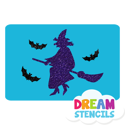 Picture of Witch With Bats Glitter Tattoo Stencil - HP (5pc pack)