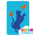 Picture of Standing Cat With Butterflies Glitter Tattoo Stencil - HP (5pc pack)