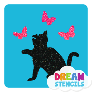 Picture of Sitting Cat With Butterflies Glitter Tattoo Stencil - HP-199 (5pc pack)