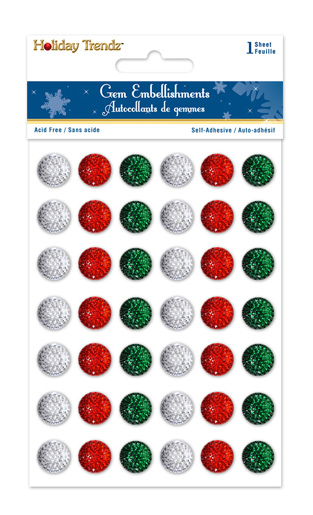 Picture of Holiday Trendz Gem Embellishments : 12mm  Gems x 42 (SX132)