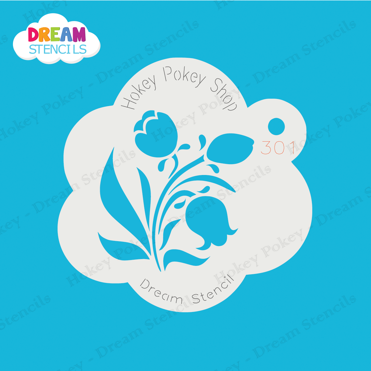 Picture of Tulips with Leaves  - Dream Mylar Stencil - 301